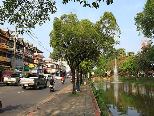 Road and moat around the old city of Chiang Mai.
