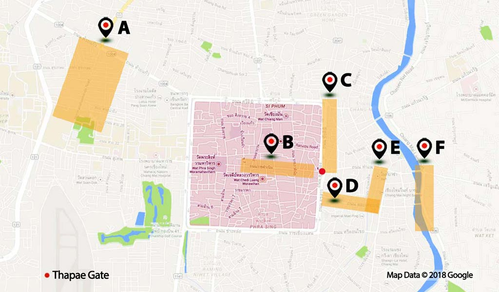 Map of Chiang Mai with nightlife areas.
