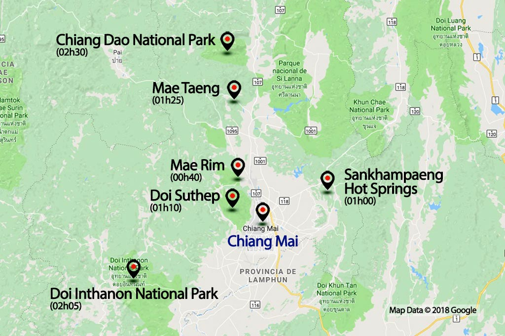 Map of Chiang Mai.