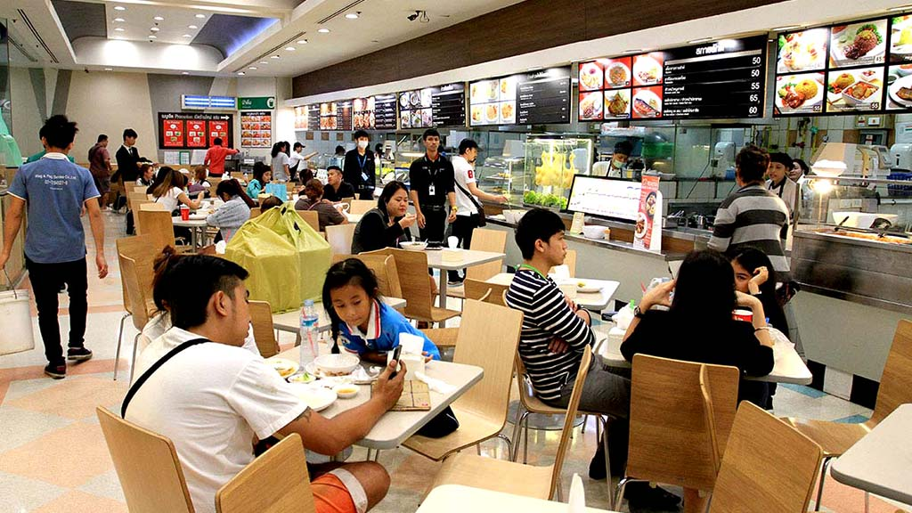 Food court in a shopping centre, Bangkok.