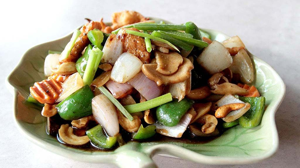 Stir-Fried Vegetables with Toasted Cashews.